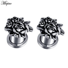 Miqiao 2pcs Stainless Steel Ear Plug Tunnel Piercing Screw Ear Tunnels Expander 6-20mm ear Gauges Piercing Body Jewelry(China)