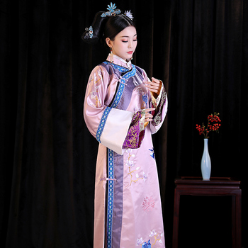Chinese ancient Empress Embroidery set Costume play TV same paragraph Manchu princess stage performance cheongsam hanfu women