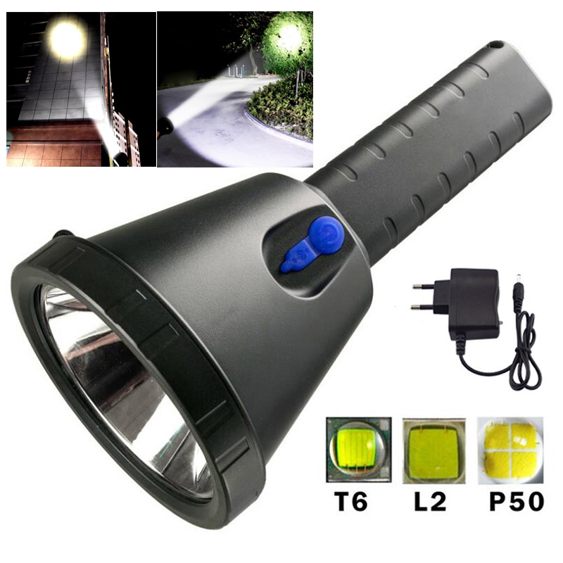 Long Range Searchlight Led Flashlight T6 Xm-l2 Xhp50 Powerful Built-in Battery Super Bright Lanterna Flash Light Torch Lanterna