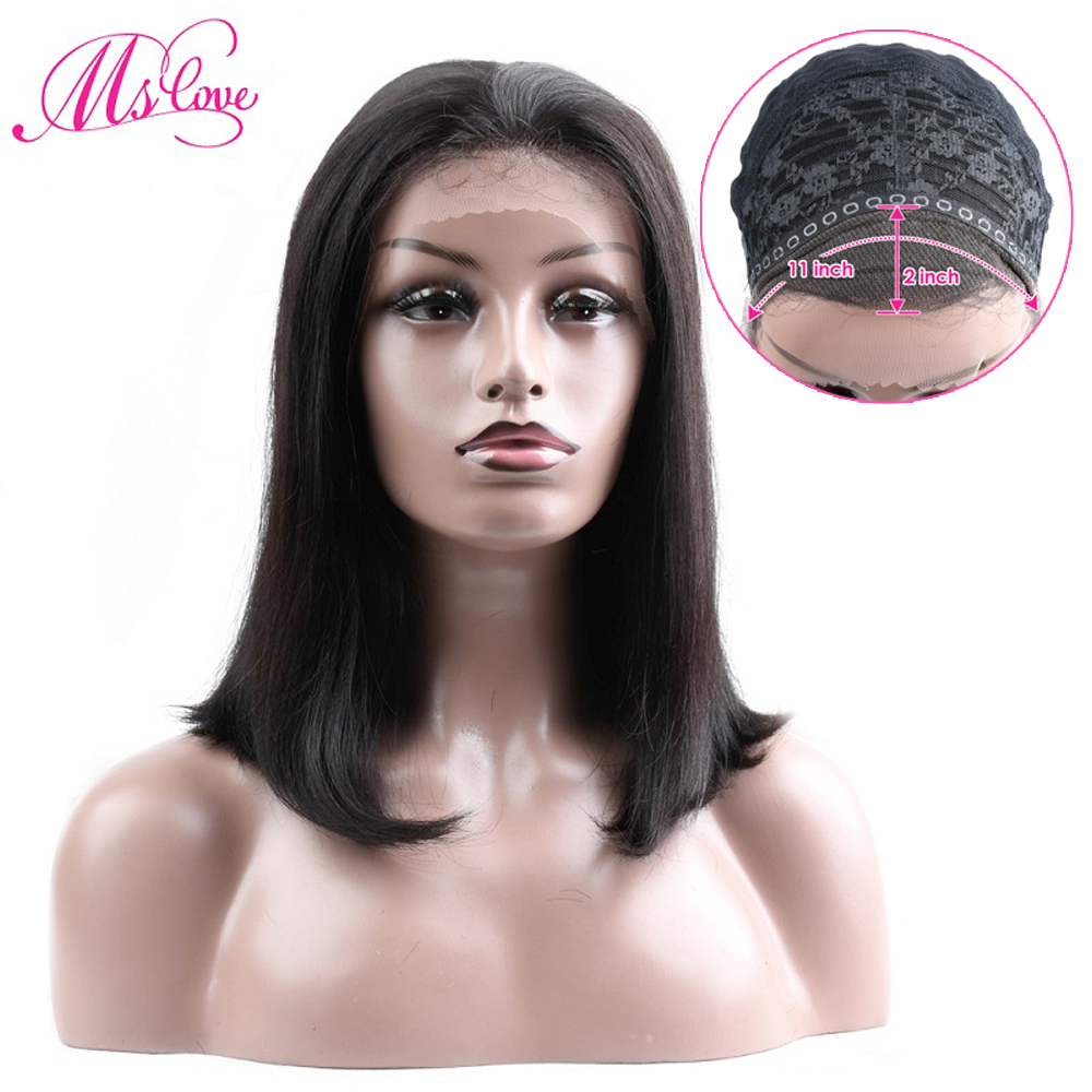 Ms Love Short Human Hair Wigs Straight Bob Brown Wig With Baby Hair 11x2 Inch Lace Brazilian Lace  Wig For Black Women Non Remy