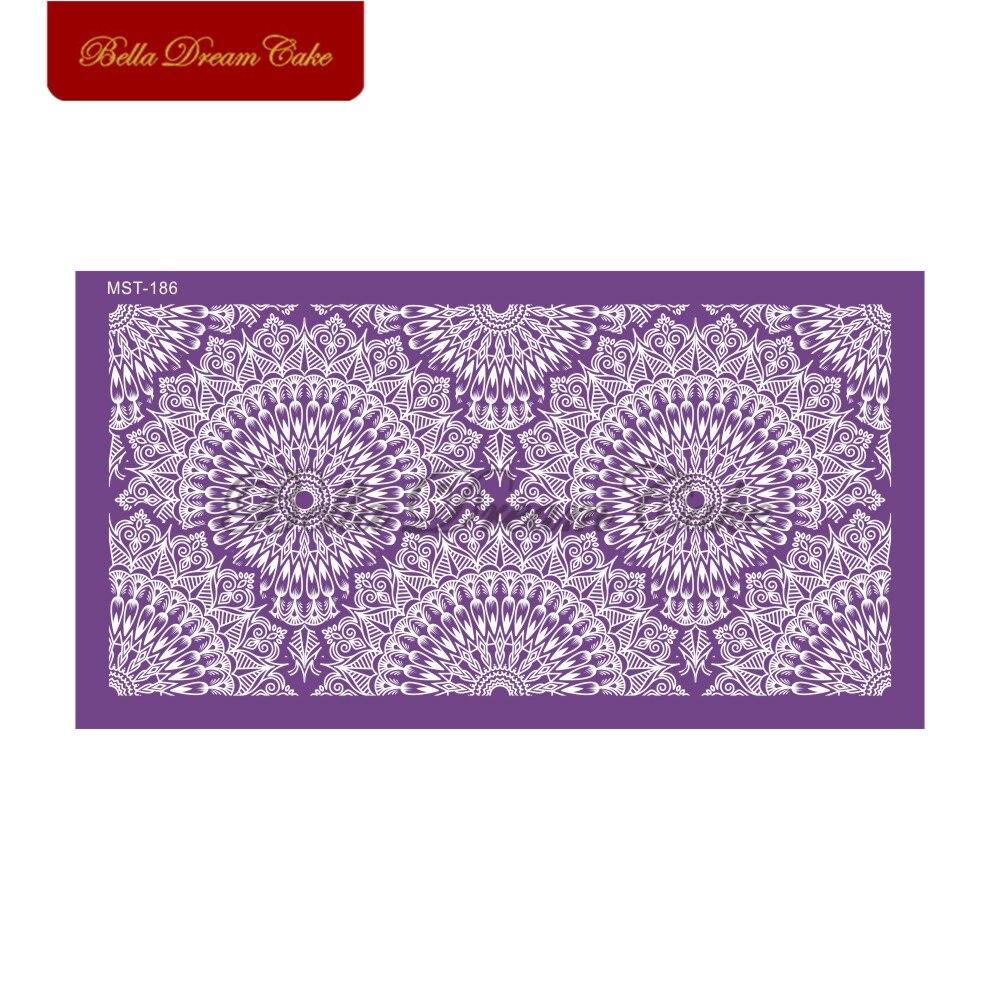 Купить ретро фиолетовый узор сетчатый трафарет для мастики трафареты