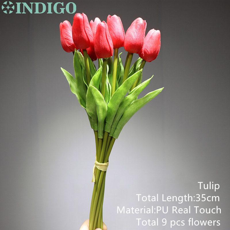 9pcs Lot High Quality Tulip Home Decorative Flower PU Flower Real Touch Artificial Flower Wedding Flower Party Free Shipping in Artificial Dried Flowers from Home Garden
