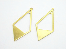 Brass rhombus charms 36x16.5mm Rhombus Shaped Geometric raw brass pendant R534