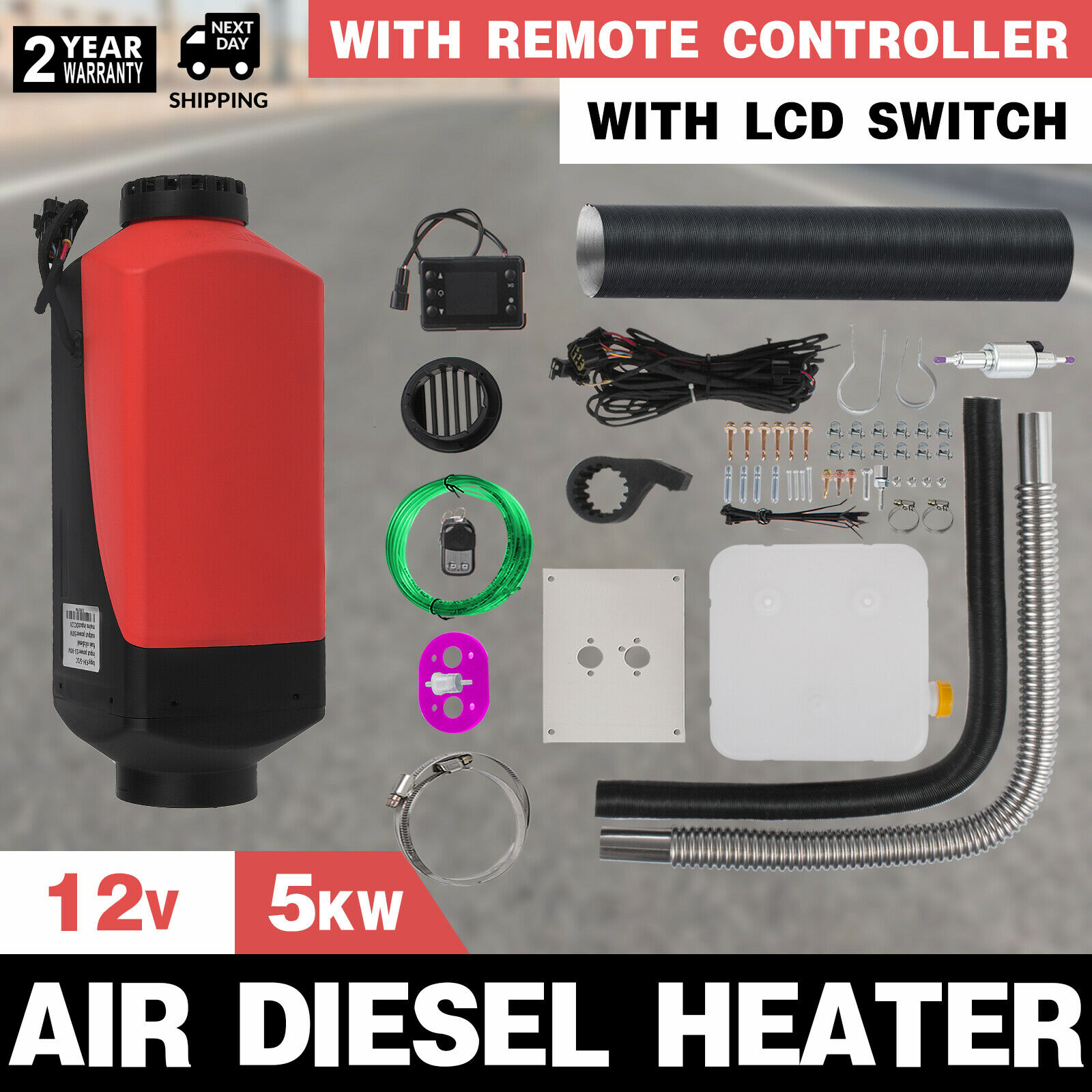 ЖК-дисплей термостат 12V 5KW Дизельный подогреватель воздуха для грузовых автомобилей Лодка Трейлер РВ дом на колесах