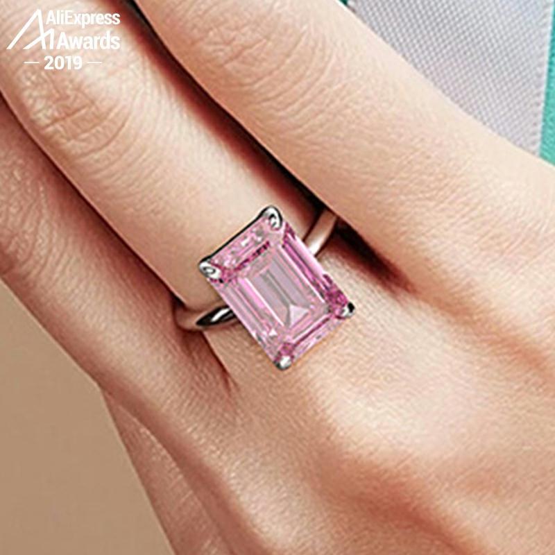 14*12mm Emerald Cut  NOT FAKE S925 Sterling Silver Ring SONA Diamond Halo Fine Citrine Sapphire Amethyst Ruby Coloured Diamond