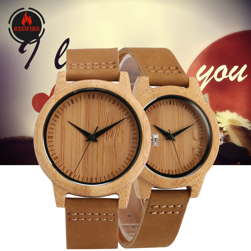 REDFIRE Wood Watch Gifts Couple Custom Engraving Wedding/Anniversary Gift Quartz Wristwatches Lovers Watches relojes de pareja