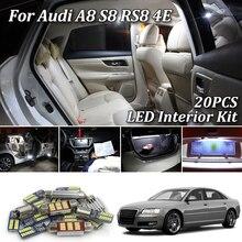 20 шт. белые светодиодные с Canbus автомобильный интерьерный светильник s комплект для Audi A8 S8 D3 4E S8 RS8 Автомобильный светодиодный купол багажника подножки внутренний светильник(03-10