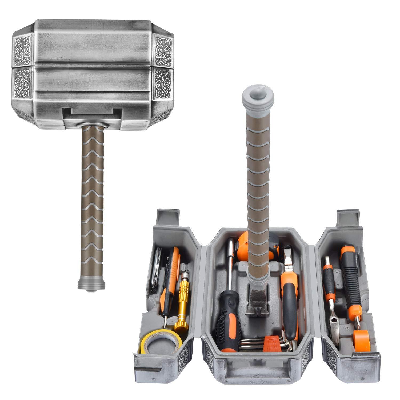 Buyton Avengers Thor Hammer Tool Set,28-Piece Household Hand Tool Kit -Thor Battle Hammer,Durable, Long Lasting Chrome Finish