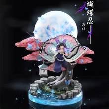 Lâmina do diabo anime figura kochou shinobu demônio slayer gk voando postura lua anime estátua kimetsu não yaiba figura de ação modelo