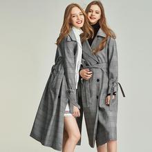 Весна, винтажный серый клетчатый Тренч, Женская Повседневная ветровка до колена с поясом F3007