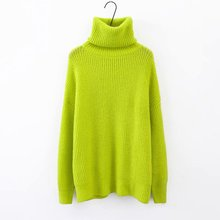 Fall 2019 Solid Long Thick Sweater Women Pullover Fluorescent Turtleneck Loose Neon Knitted Oversized