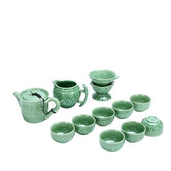 Relief Celadon Tea Set Suit Tureen Teapot Business Affairs Activity Festival Gift Tea Set