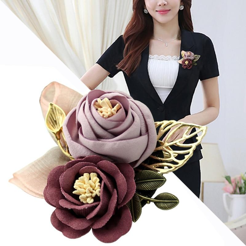 i-Remiel Korean Cloth Art Fabric Flower Brooch Shirt Collar Vintage Pins and Brooches for Women Dress Shirt Collar Accessories 1