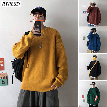 Mens Knit Sweater 2019 New Solid Color Round Neck Cashmere Sweater Men Pullover long sleeve autumn Winter Sweater Men Pullover color block mixed knit pullover sweater