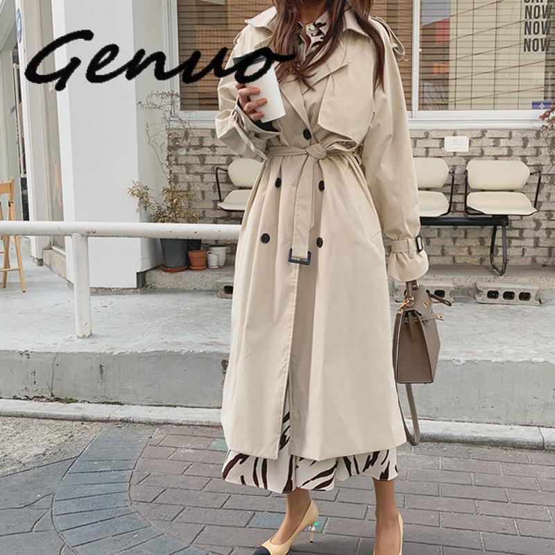 Genuo New 2019 New Autumn Winter Women's Coat Korean Windbreaker Female Plus Size Double Breasted Ladies Long Chic   Trench   Coats