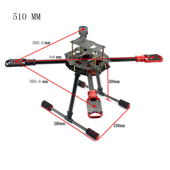 JMT J510 510mm Carbon Fiber 4-axis Foldable Rack Frame Kit with High Tripod for DIY Helicopters RC Airplanes Spare Parts KF23447