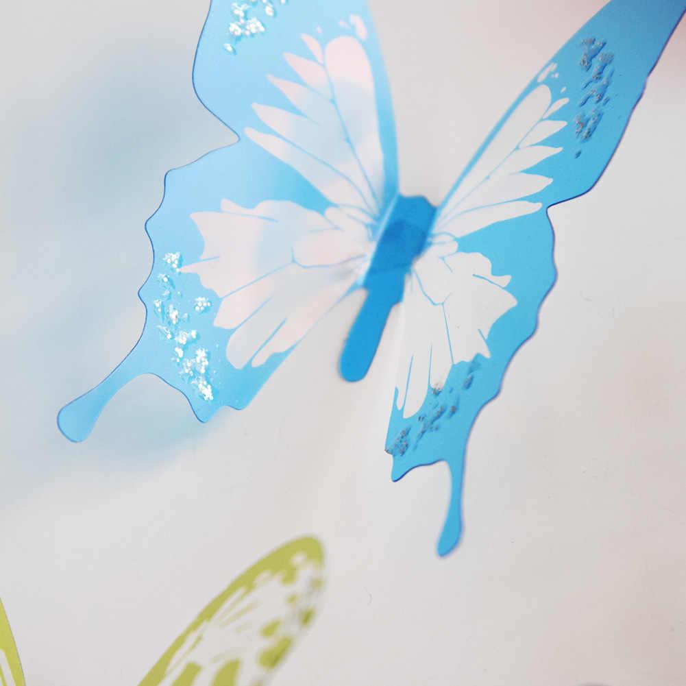 18 יח'\חבילה 3d אפקט קריסטל פרפרים קיר מדבקה יפה פרפר לילדים חדר קיר מדבקות עיצוב הבית על קיר