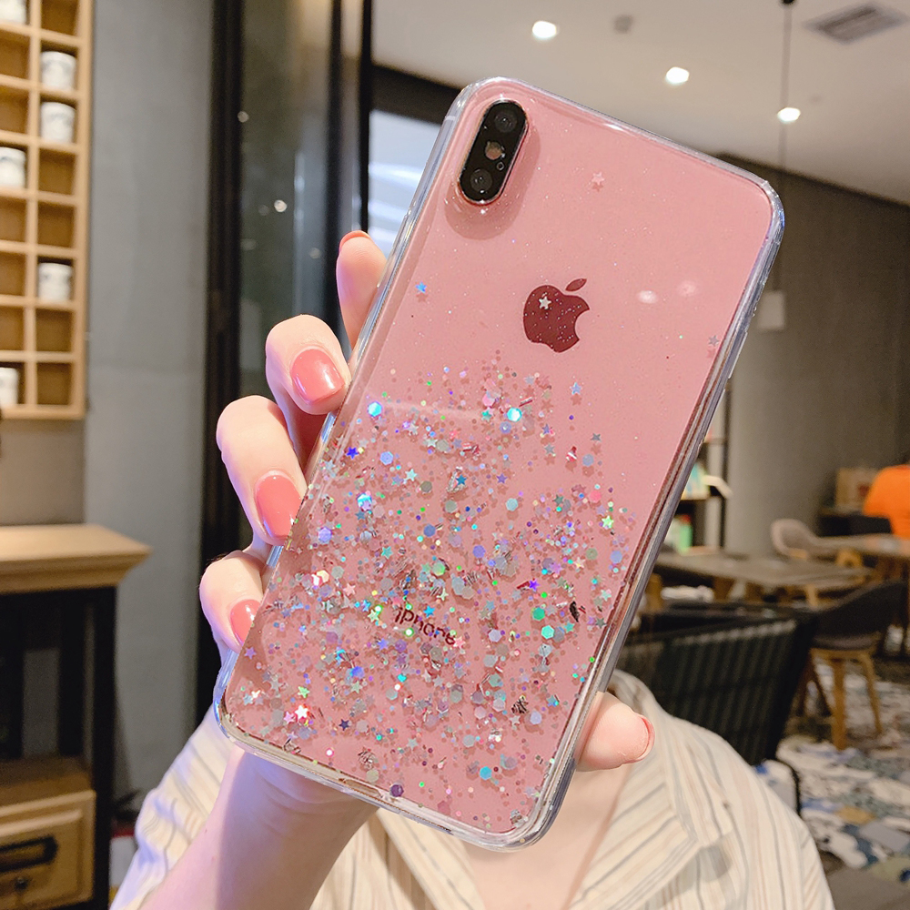 H31bf959ebd9d45a8836f7b53da8c7575r - Solid quicks Case For iphone 11 8 7 Plus 6 6s Glitter Bling Sequins Epoxy Star Case For iphone 11 Pro MAX X XR XS Soft TPU Cover