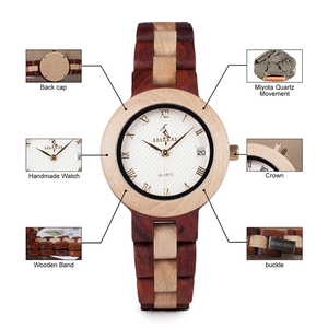 Image 5 - BOBO VOGEL Hout Horloge Vrouwelijke Vrouwen M19 Rose Sandaal Minimale Jurk Quartz Horloge Top Brand Luxe часы женские relogio feminin