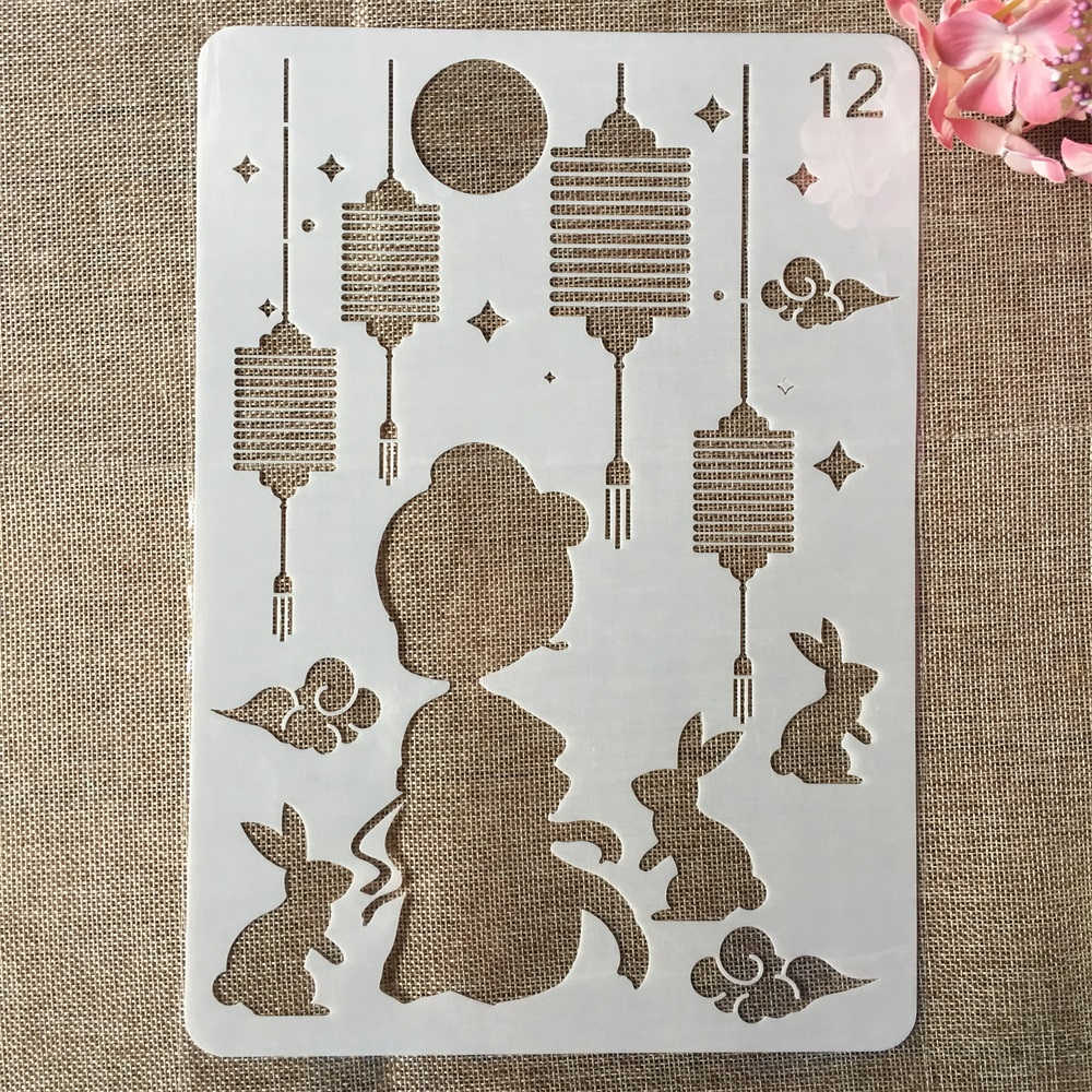 29cm A4 The Goddess Of The Moon Rabbit DIY Craft Layering Stencils Painting Scrapbooking Stamping Embossing Album Template
