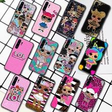 LOL Cute Cartoon Doll Girl Phone Case For Huawei P Mate 10 20 30 40 Pro Lite Smart 2019 2021 black Bumper Pretty Back Painting