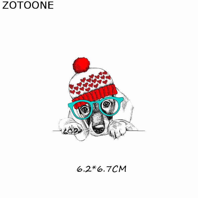 Zotoone animal unicórnio remendos cão dreamcatcher adesivos de ferro em roupas transferência calor diy applique bordado pano tecido g