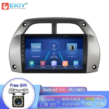 EKIY 8Core 4G DSP Android 9 For Toyota RAV4 2001 2002-2005 Car Radio Multimedia Player GPS Navigation Stereo DVD Type Recorder image