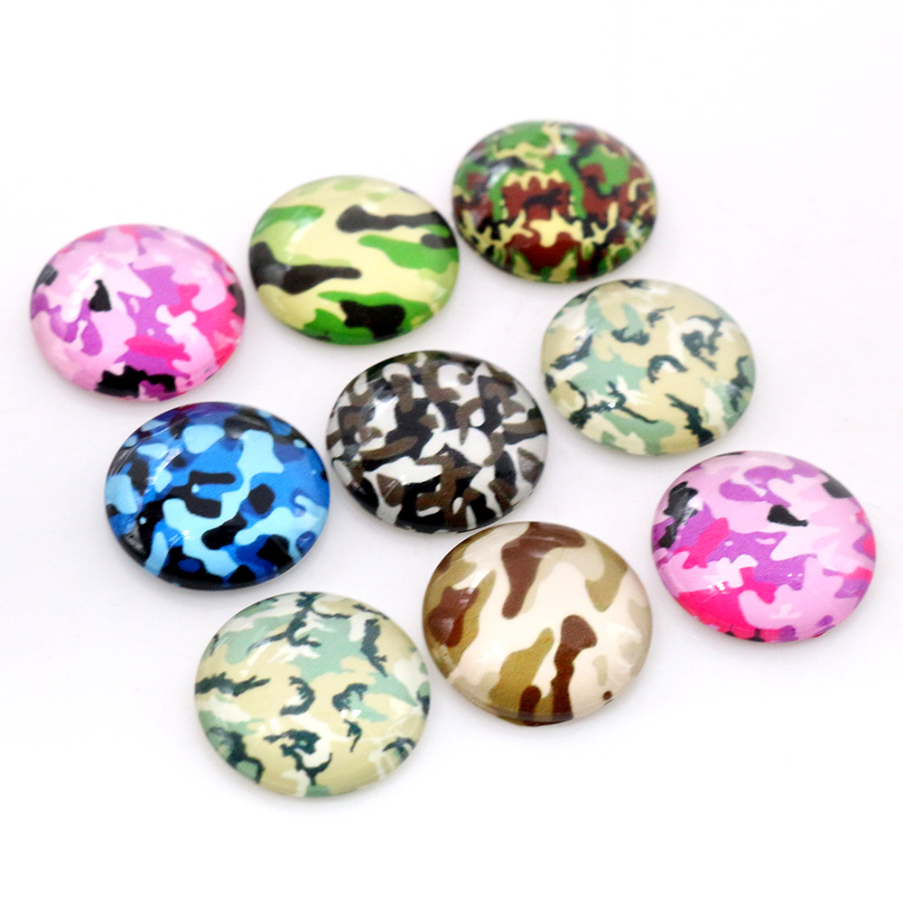 20pcs/Lot 14mm 16mm 18mm Camouflage Mix Glass Cabochons Fit 14mm 16mm 18mm Cameo Cabochon Base For Bracelet Ear Studs
