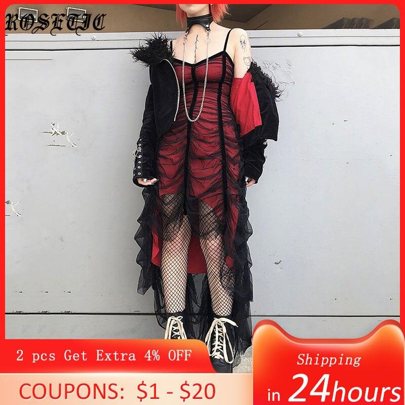 Rosetic Gothic Mesh Plissee Sexy Strap Kleid Frauen Dunkel Mädchen Sommer Rot Schwarz Unregelmäßigen Patchwork Designer Lange Kleider 2020