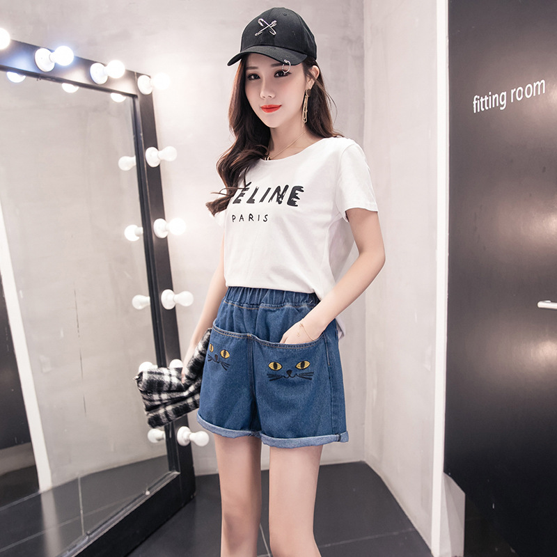 Photo Shoot Shorts Women's 2018 Spring And Summer New Style Large Size Dress Fat Mm 200 Crimping High Waist Jeans