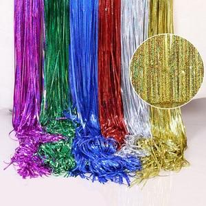 1M 2M 3M 4M Christmas Party Backdrop Curtains Rainbow Laser Metallic Rain Foil Fringe Tinsel Curtain wedding Birthday decoracion