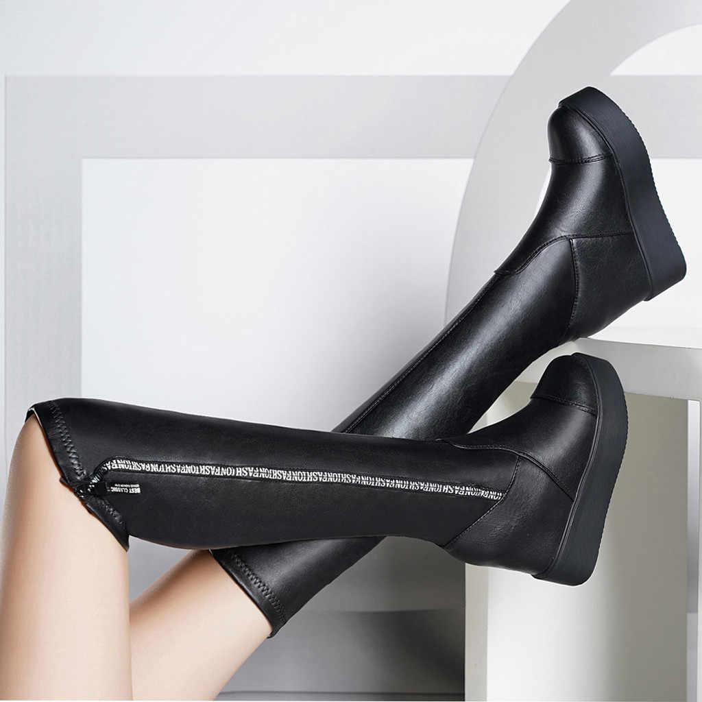 Ayakkabı kadın bayan botları kış yüksek topuk hakiki PU bayan kadın kama katı fermuar Biker katı renk yüksek topuk çizmeler ayakkabı