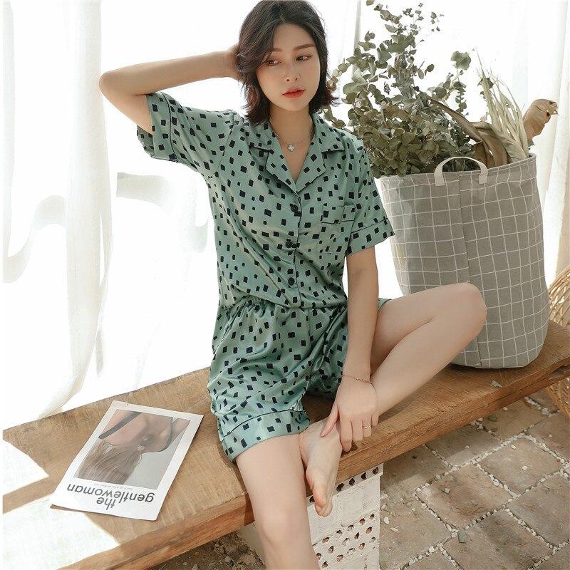 Women's Pajamas Summer Short-sleeved Shorts Home Service Suit Lapel Casual Elegant Pajamas Pijamas Mujer Women Pajamas