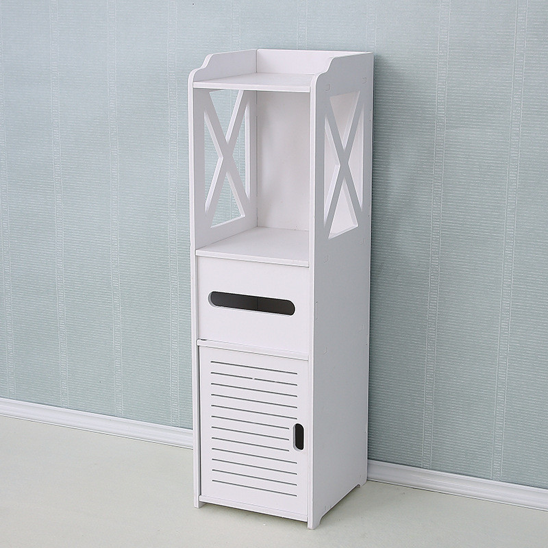Waterproof Bathroom Cabinet Floor-standing Storage Shelf Rack Toilet Home Furniture Cabinet Wood-Plastic Board Cupboard Shelf