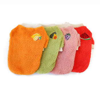 Soft Warm Fleece Dog Clothes Cute Fruit Printing Puppy Pet Sweater Comfortable Cat Pets Pullover Clothing for Small Large Dogs