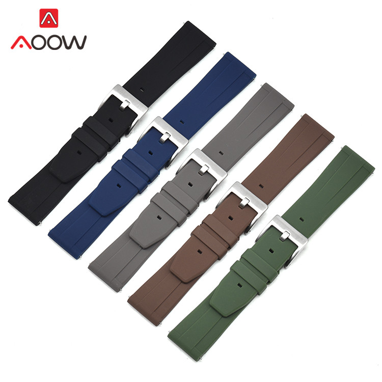 18mm 20mm 22mm Soft Silicone Strap Men Sport Rubber Band Waterproof For Samsung Galaxy Watch Active2 S2 S3 Huawei GT Amazfit GTR
