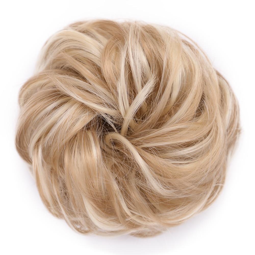 Пучок волос кудрявый Dount Updo синтетические Scruchies эластичный зажим в шиньон для наращивания шиньон аксессуары для волос Термостойкое волокно - Цвет: 18H613