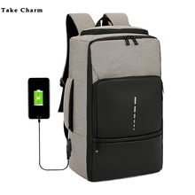 Fashion Trend Mens Laptop Backpack 2020 Large Capacity Oxford Cloth Waterproof Charging USB Travel Bag Male Business Backpack