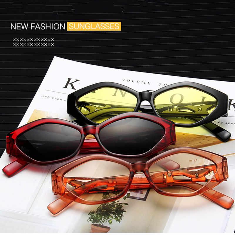 Gafas de sol nuevas gafas de sol modernas para mujer gafas de sol montura pequeña ojo de gato blanco fresco 3D Marco de leopardo negro amarillo azul lente