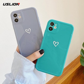 USLION Glossy Love Heart Phone Cover For iPhone 11 Pro Max X XR XS Max 7 8 7Plus Soft Silicone TPU Back Case Shockproof Cover image