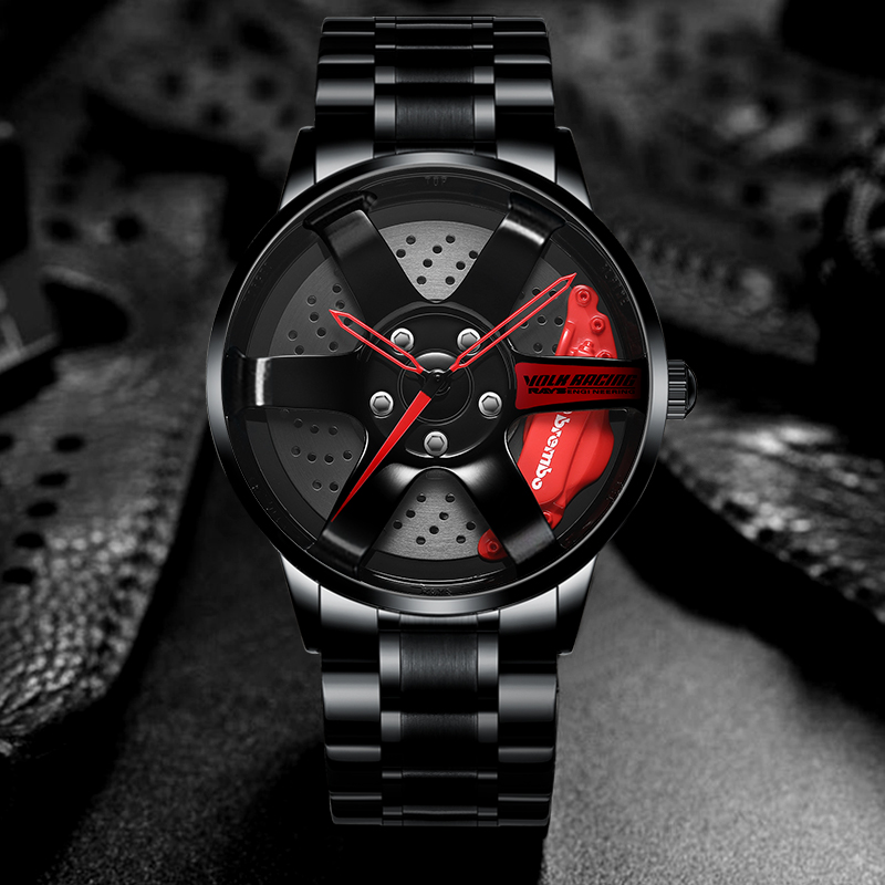 NEKTOM Men Wheel Watch Classic Fashion Waterproof Sport Watch Men's Quartz Mesh With Rim Hub Watch Run Quartz Men Quartz Watch