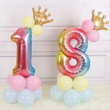 17 Pièces/ensemble 32 Pouces Arc-En-Ciel Ballons à Numéro Numérique Couronne Ballon D'hélium Décoration De Mariage Fournitures de Fête D'anniversaire