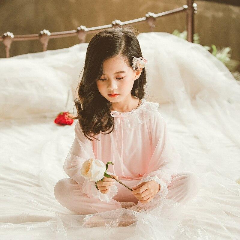 Pyjamas pour enfants filles printemps et automne à manches longues filles bébé princesse doux vêtements pour enfants service à domicile costume mince - 2