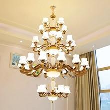 European Villa Hotel Crystal Glass Chandelier Zinc Alloy Luxury Hanging Lights Cafe Pendant Light