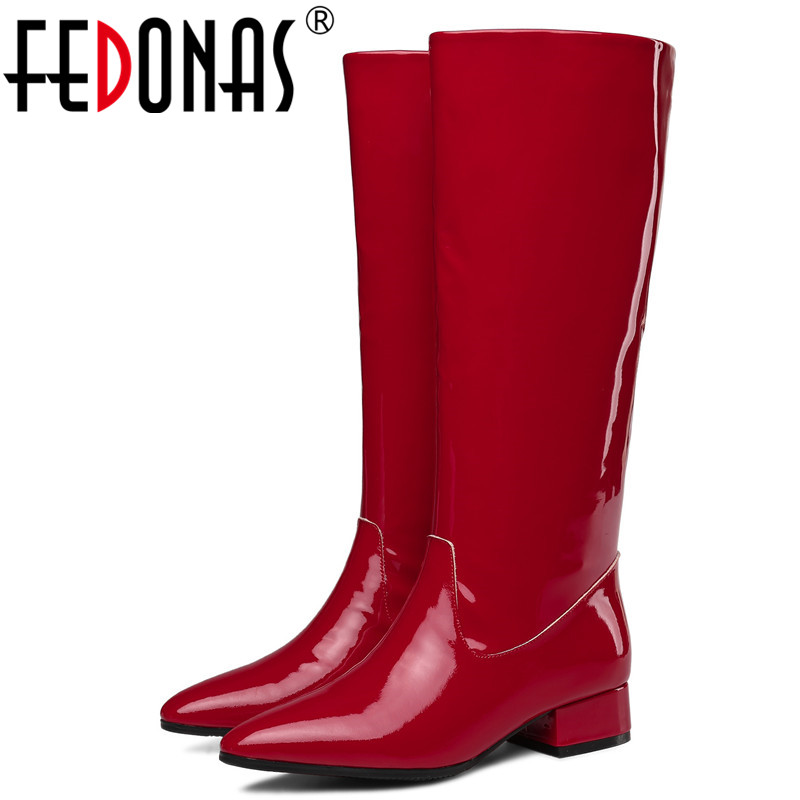 FEDONAS Newest High Heels Cow Patent Leather Women Knee High Boots Zipper Plus Size Female Riding Boots Dancing Shoes Woman