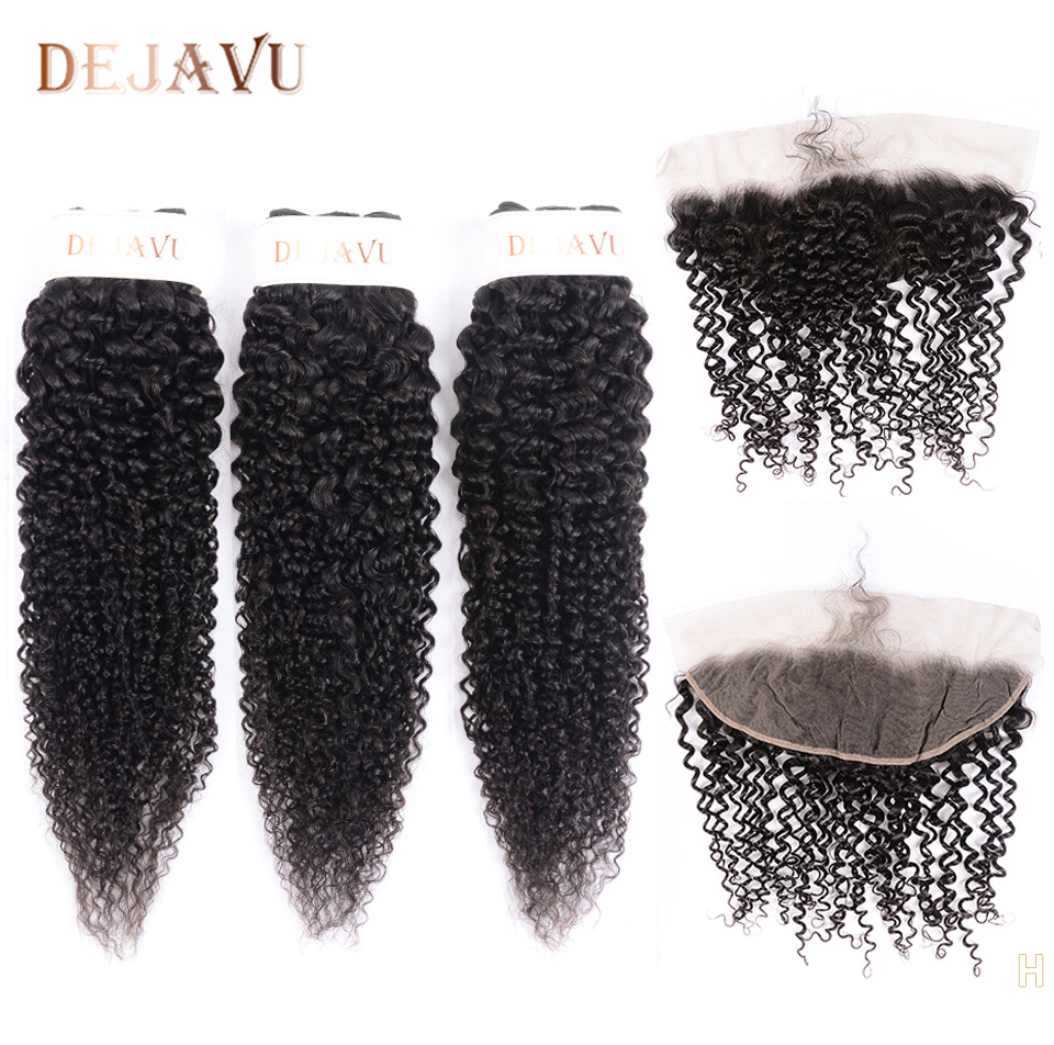 Dejavu Kinky Curly Bundles With Frontal Non-Remy Hair 3 Bundles With 13*4 Lace Frontal Brazilian Weave With Closure For Woman
