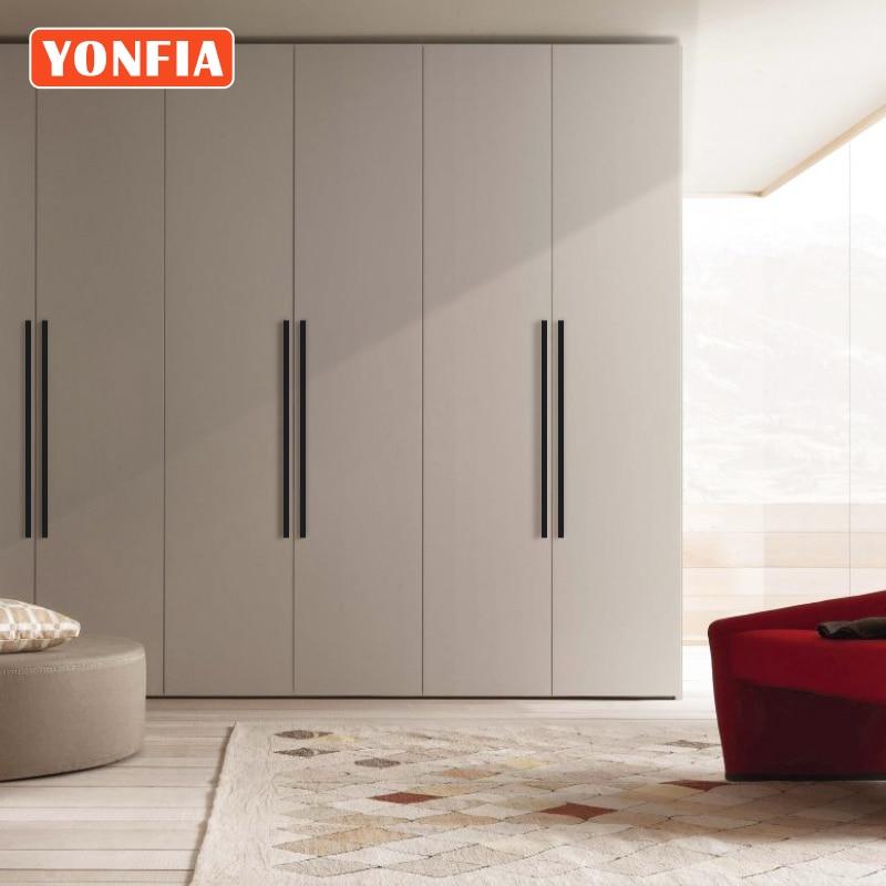 YONFIA 3728 Black Long Aluminium Profile Wardrobe Cabinet Drawer Pulls Handle Long Gold Kitchen Cupboard Closet Pull Door Handle
