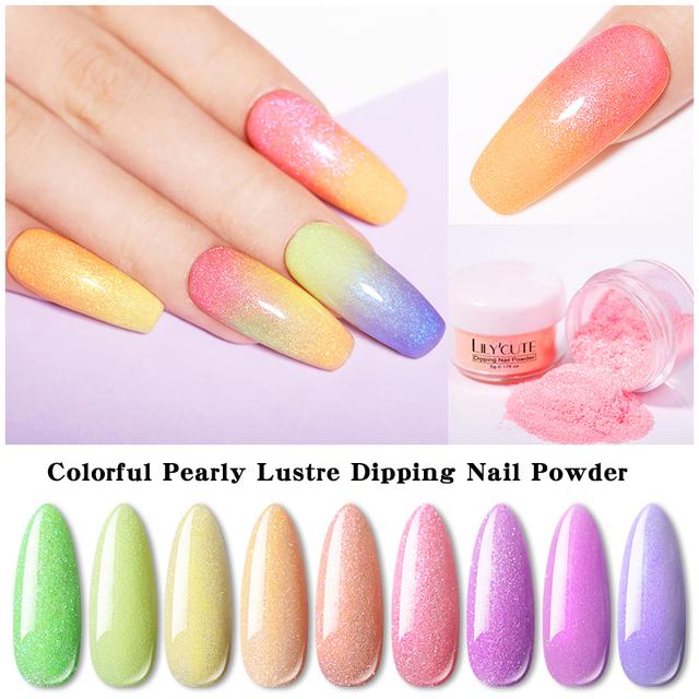 LILYCUTE 5g/Box Glitter Colorful Dipping Nail Powder
