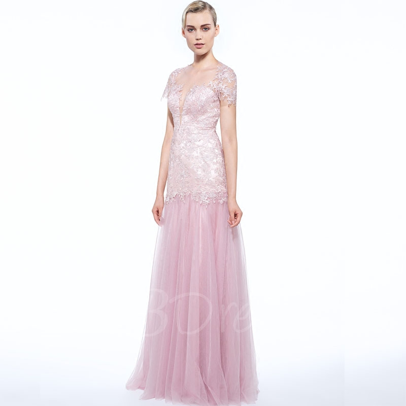 Sexy See Through Back 2018 Robe De Soiree Courte Saree Michael Korns For Sale Pink Tulle Evening Mother Of The Bride Dress