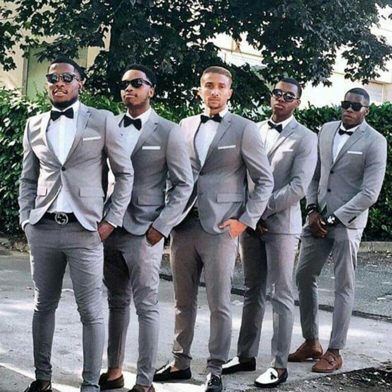 Two Button Groomsmen Gray Men Suit Blazers Party Prom Jacket + Pants Groom Wedding Suits Notched Lapel Tuxedos Trajes De Hombre